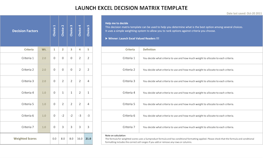 decision matrix download page � launch excel