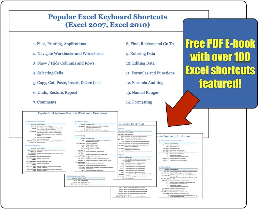 Free Excel Shortcuts PDF E-book
