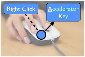 Right click then use underlined keyboard accelerator