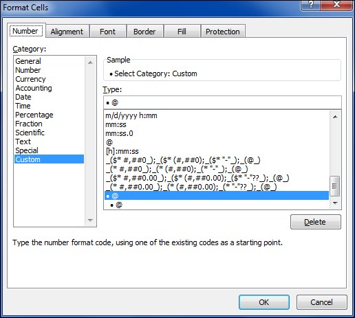 custom cell number format