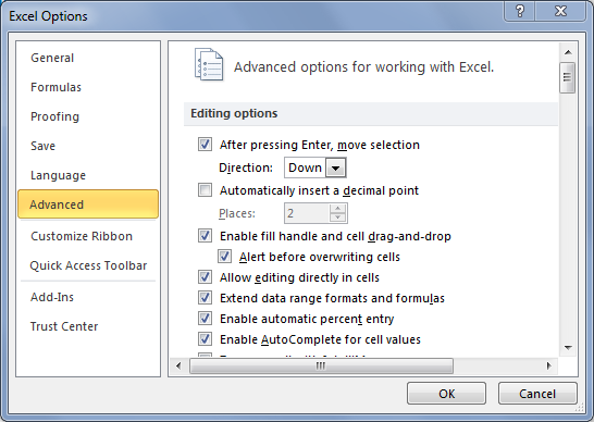 [Image] Configure Excel Cell Movement on Enter