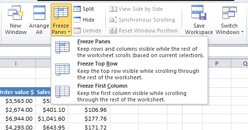 [Image] Excel Freeze Panes 1