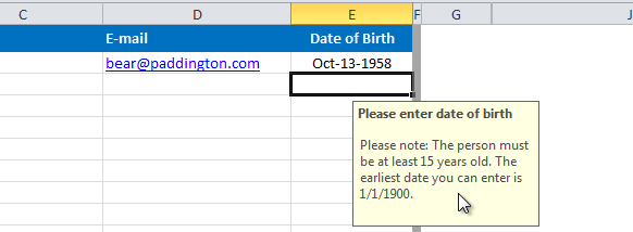 [Image] Screenshot showing Date Validation