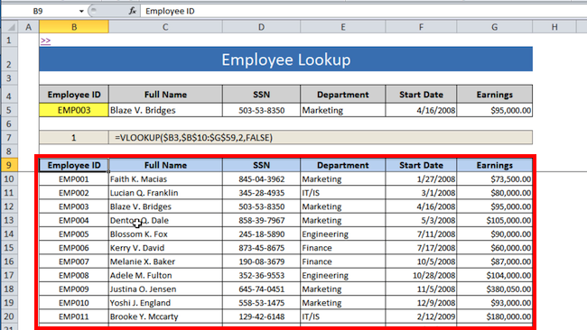 [Image] Employee Lookup Table for VLOOKUP formula tutorial