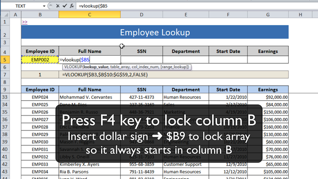 [Image] Press F4 key to lock column reference