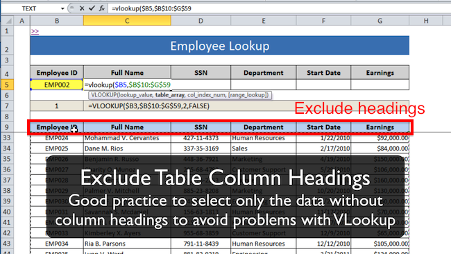 [Image] Exclude column headings when you specify data range for VLOOKUP