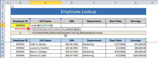 [Image] VLOOKUP with MATCH Function