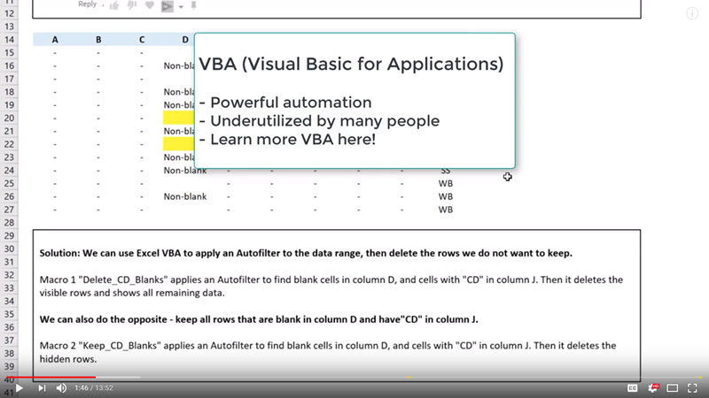 Excel Tutorial: How to use VBA to delete filtered rows (fast