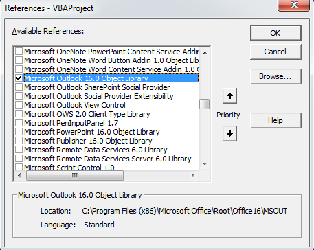 [Image - Activate Microsoft Outlook Object Library]