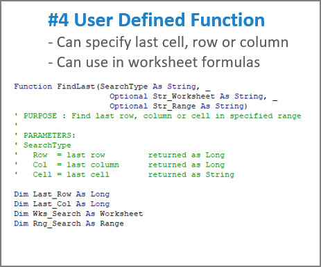 [IMAGE - Use custom User Defined Function to find Last Cell, Row, Column on Excel worksheet]