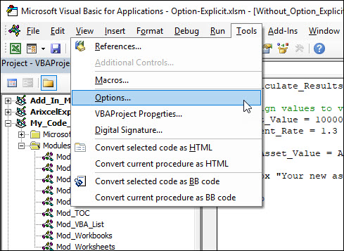 [IMAGE] Excel VBE Tools Options